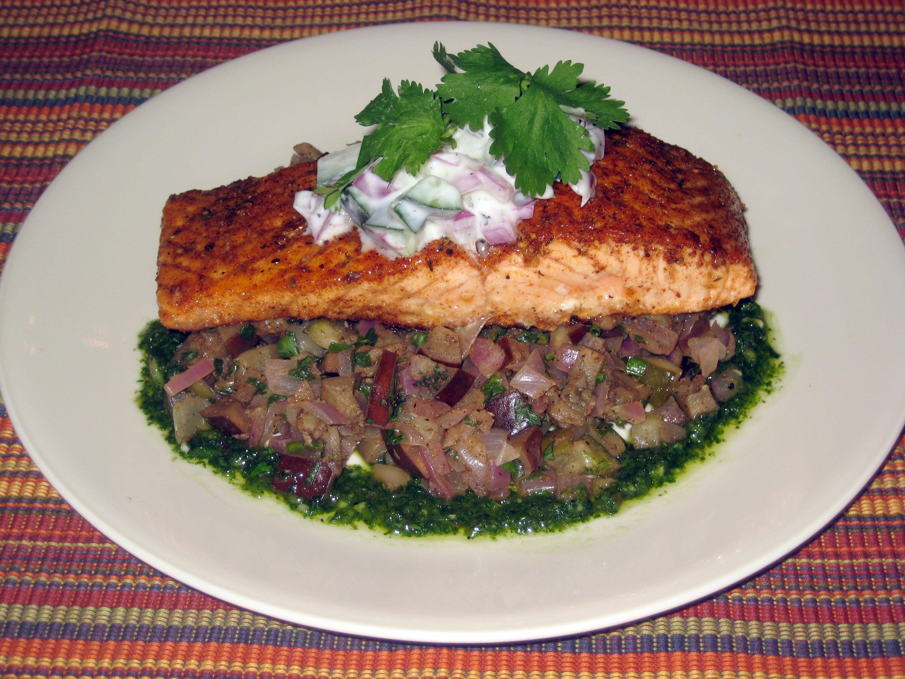 Cajun Salmon w/ Spicy Eggplant Salsa & Minted Cucumber Relish