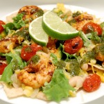 Chipotle-Lime Shrimp Taco Salad w/ Cilantro Vinaigrette