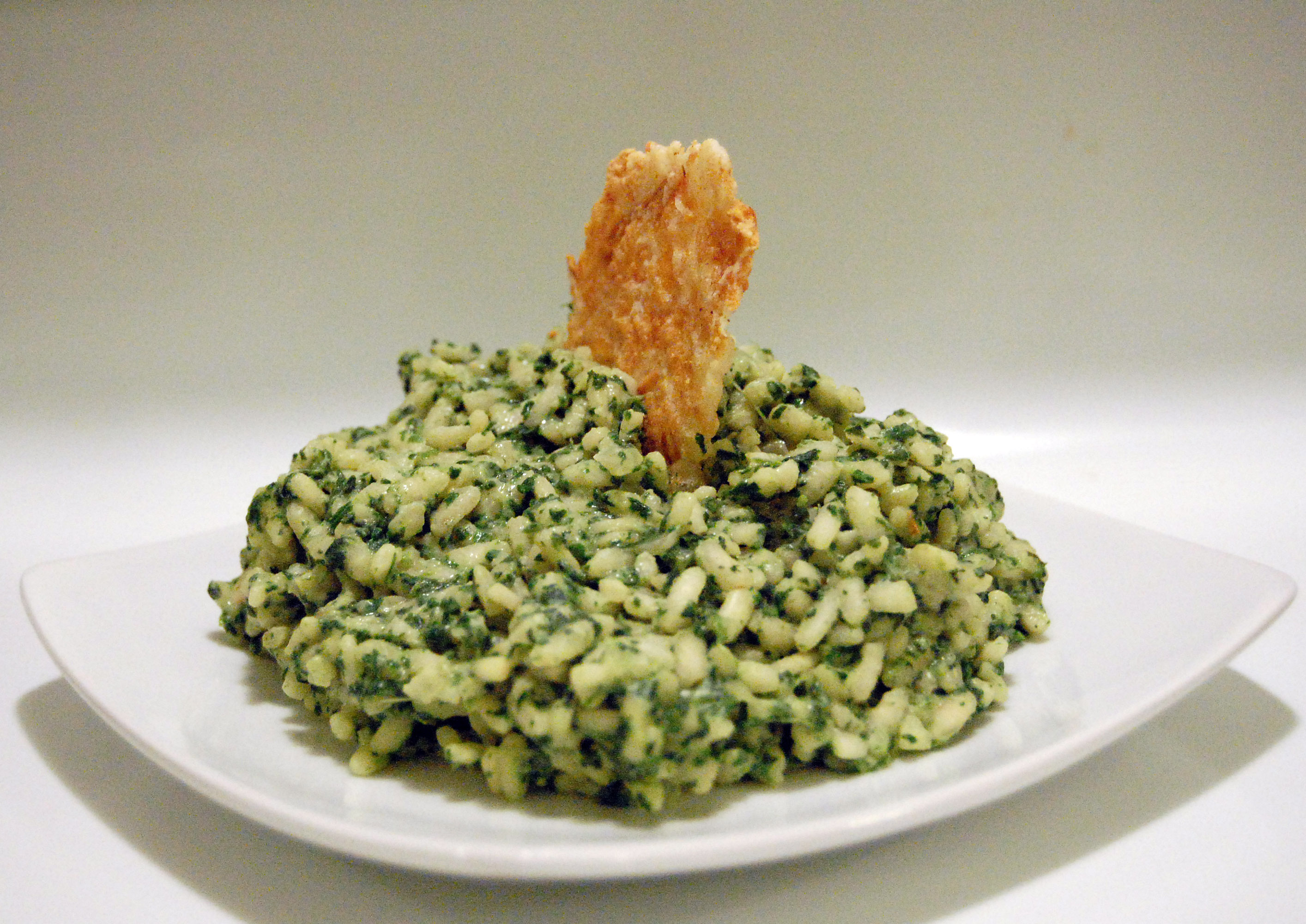 Green Garlic Risotto w/ Parmesan Crisps